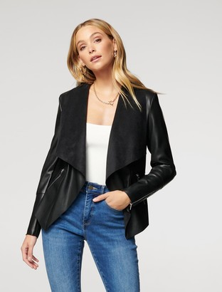 Forever New Louise Vegan Leather Waterfall Jacket - Black - 4