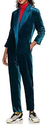 "Mira Mikati Women's ""Never Rest"" Velvet Jumpsuit - Turquoise"