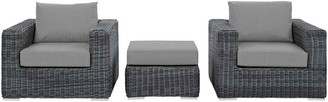 Modway Summon 3Pc Outdoor Patio Wicker Rattan Sunbrella Sectional Set