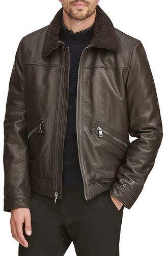 Andrew Marc Men's Kilmer Leather Bomber Jacket w/ Shearling Collar