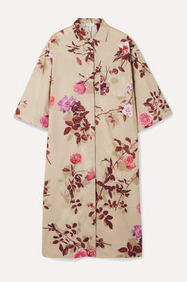Dries Van Noten Dorali Floral-print Cotton-poplin Shirt Dress - Beige