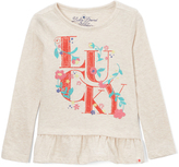 Lucky Brand Oatmeal Heather Floral 'Lucky' Ruffle Tee - Toddler