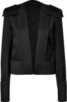 Balmain Black Wool Cropped Open Jacket