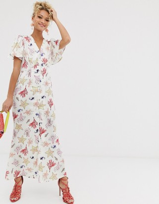 NEVER FULLY DRESSED button through maxi dress in sea life print
