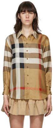 Burberry Beige Silk Carlota Check Shirt