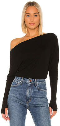 Enza Costa Silk Rib Off Shoulder Long Sleeve Top