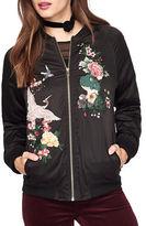 Miss Selfridge Embroidered Raglan-Sleeve Bomber Jacket