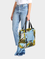 Versace Daydreamer Medium Bag in Multicolour Baby Blue Calf and Drill Cotton