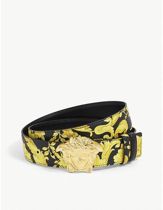 Versace Floral-print leather belt