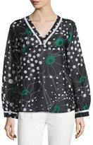 See by Chloe V-Neck Floral-&-Dot Print Top, Black/White