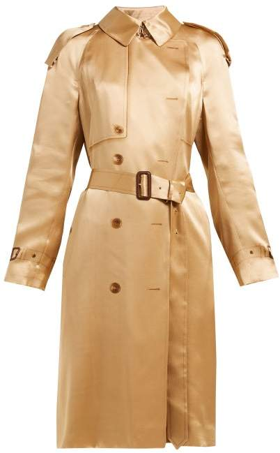 Burberry Double Breasted Silk Satin Trench Coat - Womens - Beige