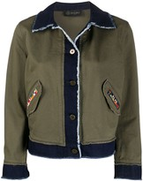 Mr & Mrs Italy contrast panel frayed detail jacket