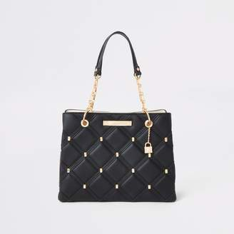 River Island Womens Black quilted studded tote bag