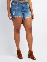 Charlotte Russe Plus Size Refuge Girlfriend Cut-Off Denim Shorts