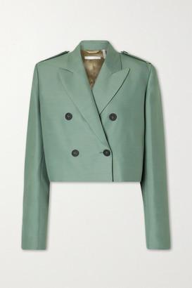 Helmut Lang Cropped Wool And Silk-blend Blazer - Gray green