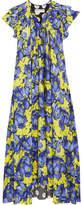 Balenciaga Floral-print Crepe De Chine Midi Dress - Purple
