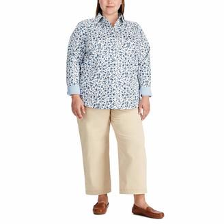 Chaps Women's Girls Long Sleeve Non Iron Cotton Sateen-Shirt