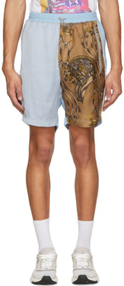 Ahluwalia Blue Silk Patchwork Shorts