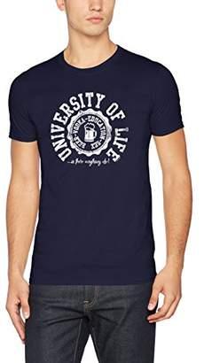 FM London Men's Printed Design Regular Fit Crew Neck Short Sleeve T - Shirt,X-Large