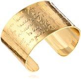 "Mercedes Salazar PALABRAS"" -Tone Engraved Words Cuff Bracelet, 6"""