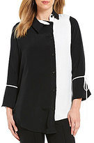 IC Collection Colorblock Bell Sleeve Button Front Shirt