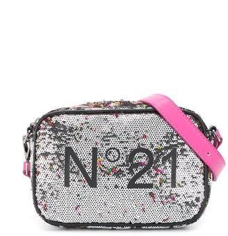 No21 Kids Sequinned Logo Shoulder Bag