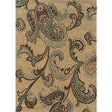 Linon Rugs Trio Rectangular Area Rug in Brown and Turquoise - 5' x 7'