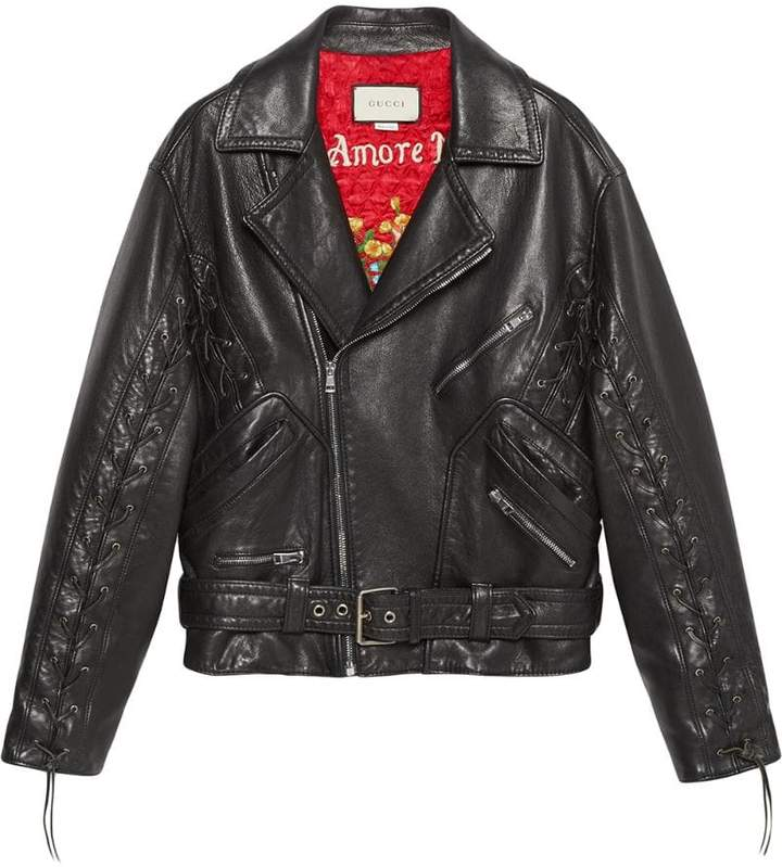 74a7670b316b Gucci Black Women s Leather Jackets - ShopStyle