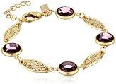 Swarovski 1928 Jewelry Gold-Tone Simulated-Amethyst Crystal Link Bracelet