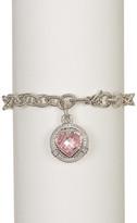 Judith Ripka Sterling Silver Athena Crystal Heart Charm Link Bracelet