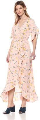 Moon River Women's Ruffle Sleeve HIGH-Low WRAP Maxi Dress