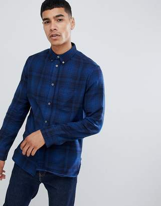 French Connection Large Over Check Shirt-Blue