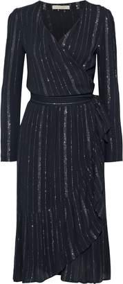 Vanessa Bruno Jaine Metallic Striped Gauze Wrap Dress