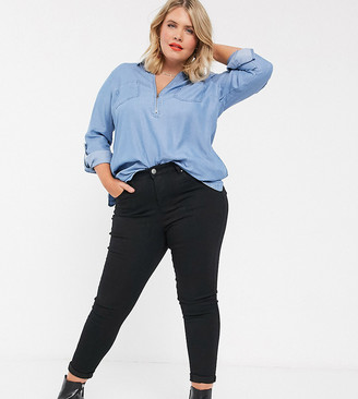 Simply Be Lucy high waist skinny jeans in black