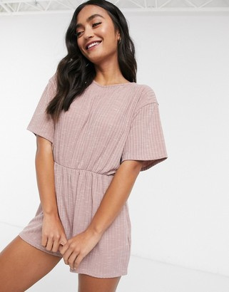 ASOS DESIGN mix and match rib pyjama playsuit in dusty pink