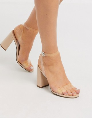 New Look clear strap block heeled sandals in oatmeal