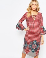 Love Midi Dress with Bell Sleeves in Placement Print