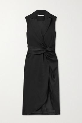 Jonathan Simkhai Twist-front Paneled Satin And Twill Midi Dress - Black