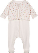 Petit Bateau Floral cotton baby-grow & cardigan Newborn-12 months
