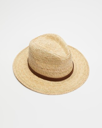 Brixton Yellow Hats - Messer Straw Fedora - Size M at The Iconic