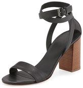 Vince Farley Ankle-Wrap Block-Heel Sandal, Black