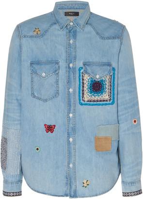 Amiri Crochet and Patch Denim Shirt