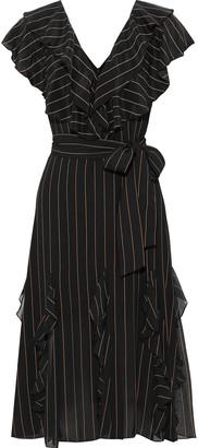 Alice + Olivia Tessa Ruffled Pinstriped Crepe De Chine Dress