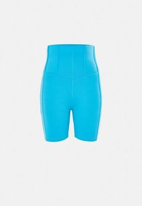 Missguided Blue Co Ord Corset Detail Biker Shorts