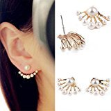 Hittime 1Pair Women Lovely Crystal Earrings Pearl Ear Stud Front and Back Earbob