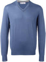 Brunello Cucinelli fitted cuffs V-neck jumper