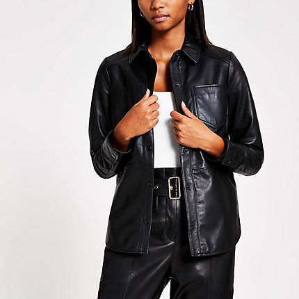 River Island Black leather button front jacket