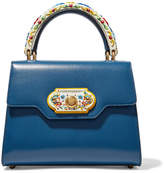 Dolce & Gabbana Welcome Small Painted Wood And Leather Tote - Cobalt blue