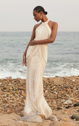 Cucculelli Shaheen Arco Pearl Embroidered Silk Tulle Halter Dress