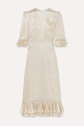 The Vampire's Wife Falconetti Ruffled Silk-blend Lame Dress - Silver